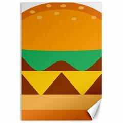Hamburger Bread Food Cheese Canvas 12  X 18   by Simbadda