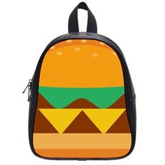 Hamburger Bread Food Cheese School Bags (small)  by Simbadda