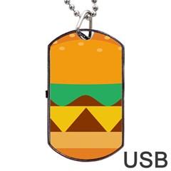 Hamburger Bread Food Cheese Dog Tag Usb Flash (two Sides) by Simbadda