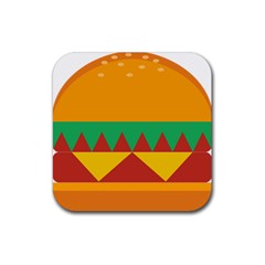 Burger Bread Food Cheese Vegetable Rubber Square Coaster (4 Pack)  by Simbadda