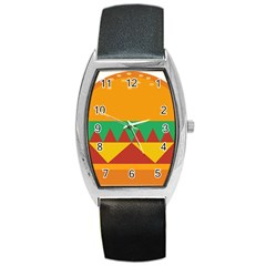 Burger Bread Food Cheese Vegetable Barrel Style Metal Watch by Simbadda