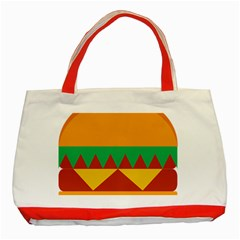 Burger Bread Food Cheese Vegetable Classic Tote Bag (red) by Simbadda