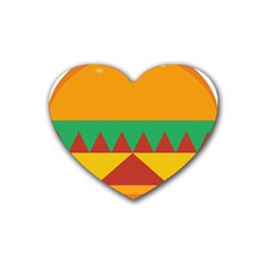 Burger Bread Food Cheese Vegetable Heart Coaster (4 Pack)  by Simbadda