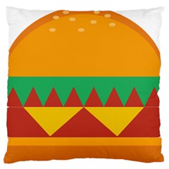 Burger Bread Food Cheese Vegetable Large Flano Cushion Case (two Sides) by Simbadda