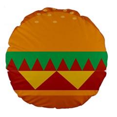 Burger Bread Food Cheese Vegetable Large 18  Premium Flano Round Cushions by Simbadda