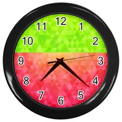 Colorful Abstract Triangles Pattern  Wall Clocks (black) by TastefulDesigns