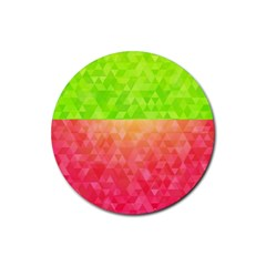 Colorful Abstract Triangles Pattern  Rubber Round Coaster (4 Pack)  by TastefulDesigns