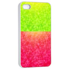 Colorful Abstract Triangles Pattern  Apple Iphone 4/4s Seamless Case (white) by TastefulDesigns