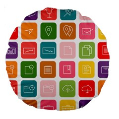 Icons Vector Large 18  Premium Round Cushions by Simbadda