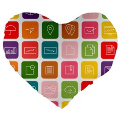 Icons Vector Large 19  Premium Heart Shape Cushions by Simbadda