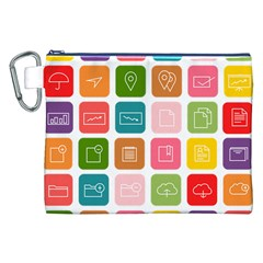 Icons Vector Canvas Cosmetic Bag (xxl) by Simbadda