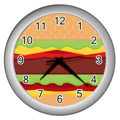 Vector Burger Time Background Wall Clocks (silver)  by Simbadda