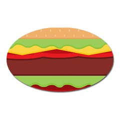 Vector Burger Time Background Oval Magnet by Simbadda