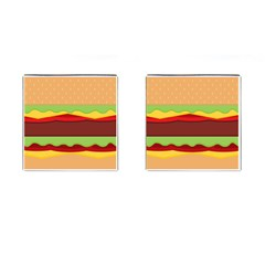 Vector Burger Time Background Cufflinks (square) by Simbadda