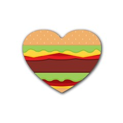Vector Burger Time Background Rubber Coaster (heart)  by Simbadda