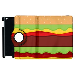 Vector Burger Time Background Apple Ipad 2 Flip 360 Case by Simbadda