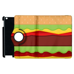 Vector Burger Time Background Apple Ipad 3/4 Flip 360 Case by Simbadda