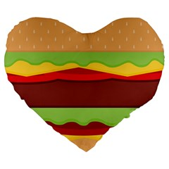 Vector Burger Time Background Large 19  Premium Heart Shape Cushions by Simbadda