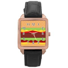 Vector Burger Time Background Rose Gold Leather Watch  by Simbadda