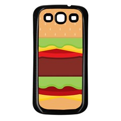 Vector Burger Time Background Samsung Galaxy S3 Back Case (black) by Simbadda