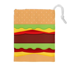 Vector Burger Time Background Drawstring Pouches (extra Large) by Simbadda