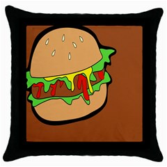 Burger Double Throw Pillow Case (black) by Simbadda
