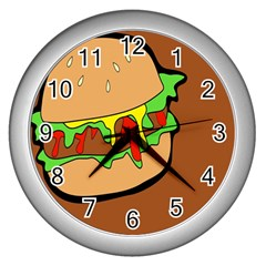 Burger Double Wall Clocks (silver)  by Simbadda