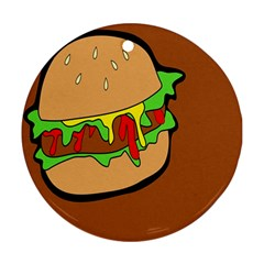 Burger Double Round Ornament (two Sides) by Simbadda