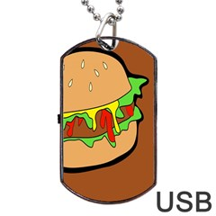 Burger Double Dog Tag Usb Flash (one Side) by Simbadda