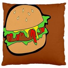 Burger Double Large Cushion Case (one Side) by Simbadda