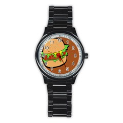 Burger Double Stainless Steel Round Watch by Simbadda