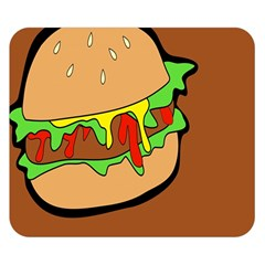 Burger Double Double Sided Flano Blanket (small)  by Simbadda