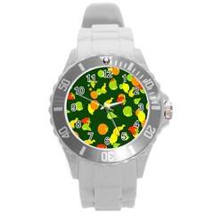 Seamless Tile Background Abstract Round Plastic Sport Watch (l) by Simbadda