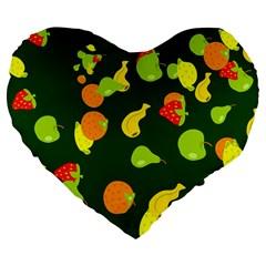 Seamless Tile Background Abstract Large 19  Premium Flano Heart Shape Cushions by Simbadda