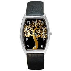 Abstract Art Floral Forest Barrel Style Metal Watch by Simbadda