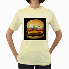 Abstract Barbeque Bbq Beauty Beef Women s Yellow T Shirt by Simbadda