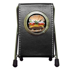 Abstract Barbeque Bbq Beauty Beef Pen Holder Desk Clocks by Simbadda