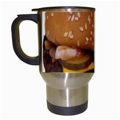 Cheeseburger On Sesame Seed Bun Travel Mugs (white) by Simbadda