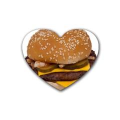 Cheeseburger On Sesame Seed Bun Heart Coaster (4 Pack)  by Simbadda