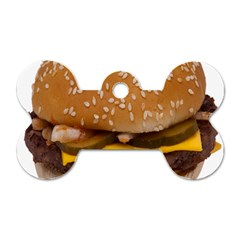 Cheeseburger On Sesame Seed Bun Dog Tag Bone (one Side) by Simbadda