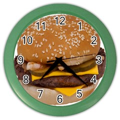Cheeseburger On Sesame Seed Bun Color Wall Clocks by Simbadda
