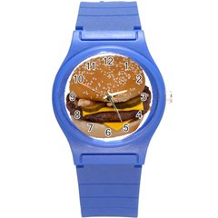 Cheeseburger On Sesame Seed Bun Round Plastic Sport Watch (s) by Simbadda