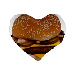 Cheeseburger On Sesame Seed Bun Standard 16  Premium Heart Shape Cushions by Simbadda