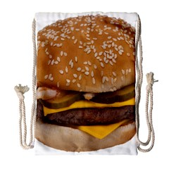 Cheeseburger On Sesame Seed Bun Drawstring Bag (large) by Simbadda