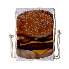 Cheeseburger On Sesame Seed Bun Drawstring Bag (small) by Simbadda