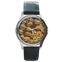 A Fun Cartoon Cheese Burger Tiling Pattern Round Metal Watch by Simbadda
