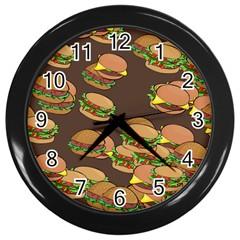 A Fun Cartoon Cheese Burger Tiling Pattern Wall Clocks (black) by Simbadda