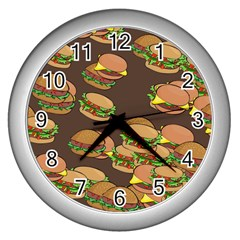 A Fun Cartoon Cheese Burger Tiling Pattern Wall Clocks (silver)  by Simbadda