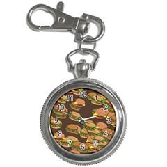 A Fun Cartoon Cheese Burger Tiling Pattern Key Chain Watches by Simbadda