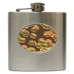 A Fun Cartoon Cheese Burger Tiling Pattern Hip Flask (6 Oz) by Simbadda